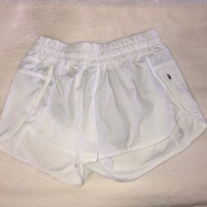 "Lululemon Hotty Hot 4"" white shorts"